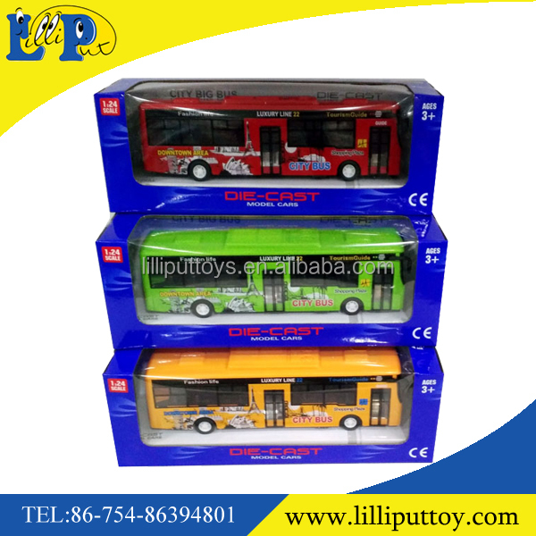 City vehicle pull back lighting metal bus toy with sound