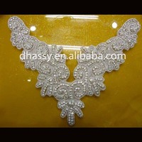 Dhorse DH-524 bling back neck designs for kuritis crystal bridal flower rhinestone applique for wedding dress 2015