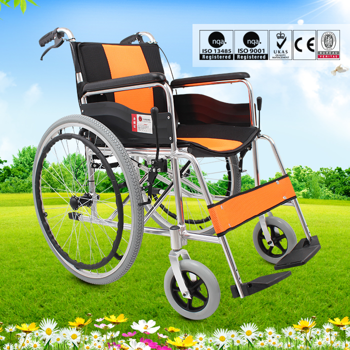 Maidesite light weight folding portable aluminum manual hospital wheelchair