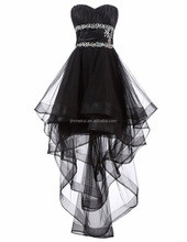 Asymmetrical Short Front Long Back Tulle Prom Dress 2016 Elegant Black Crystals Beaded Sequined HI-lo Evening Dresses