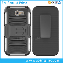 For Samsung Galaxy J3 Prime Armor Impact Holster Case Hybrid Hard Phone Case Cover + Belt Clip Kickstand Stand
