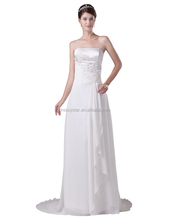 2017 simple design affordable strapless lace up white chiffon empire wedding dress for pregnant women