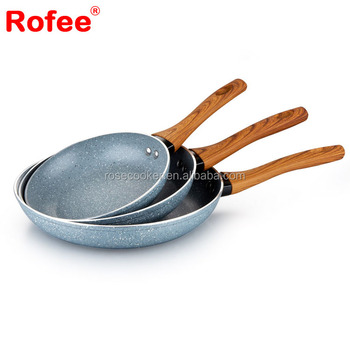 Forged High quality Stone Non stick Stone frying pan with shapes wooden Handle