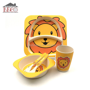 BSCI Factory Bamboo fiber Kid Baby Dinner Plate Set