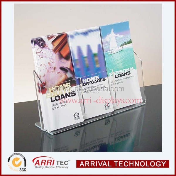 3 component clear acrylic liturature leaflet brochure table display ad promotional organizer shop store leflet display