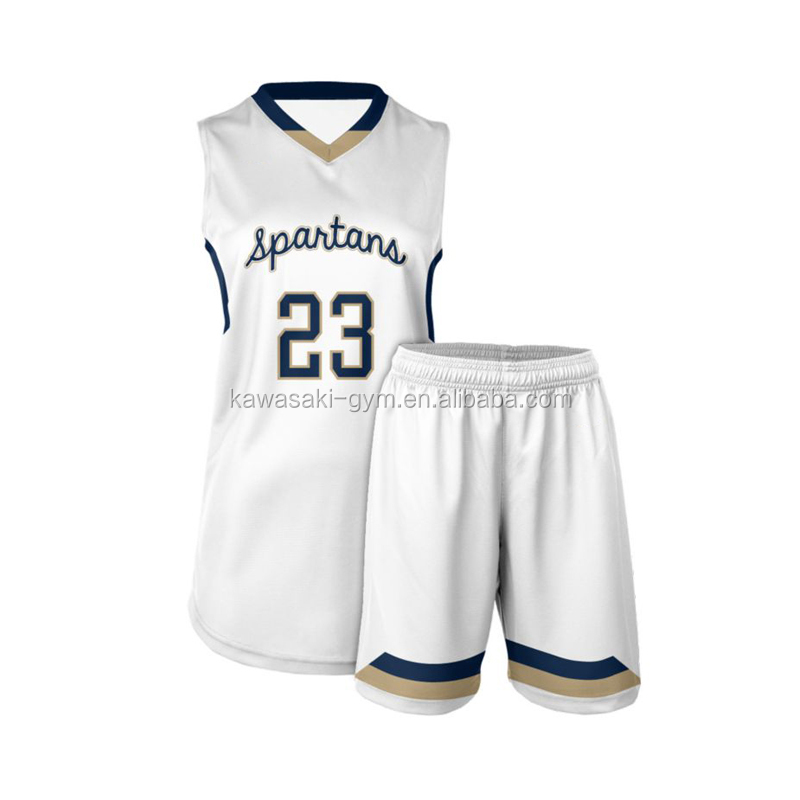 Sublimation design your own girls latest basketball jersey design 2019 color white