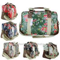 ladies floral flowers holdall weekend holiday oilcloth canvas travel shoulder bags for women