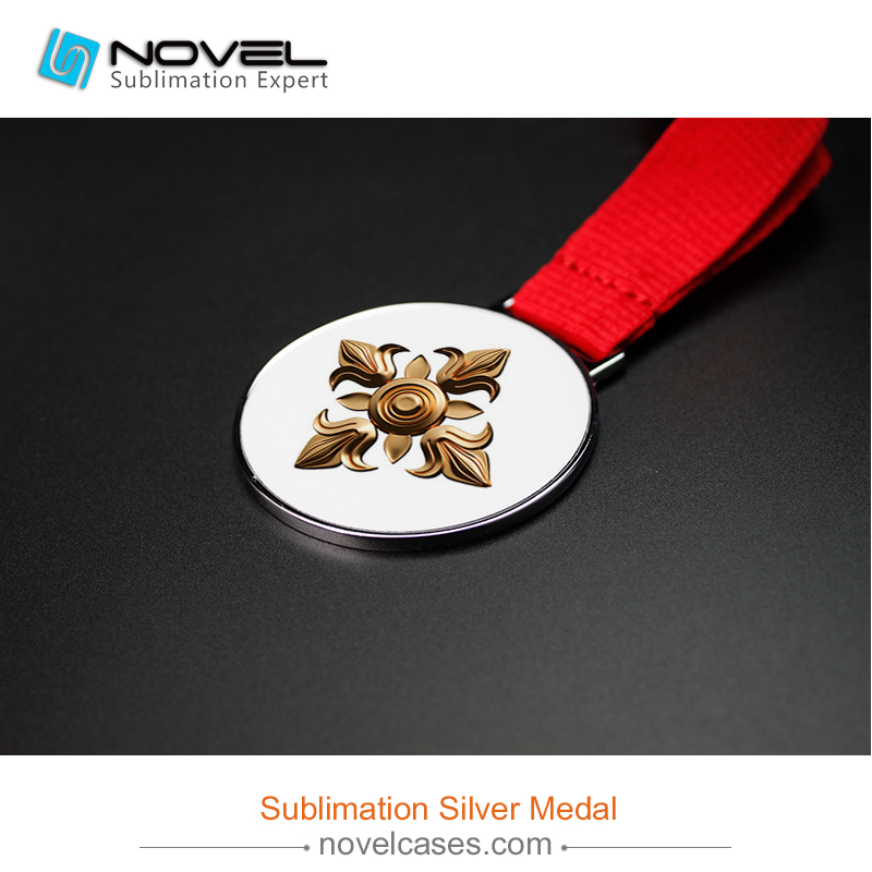 Custom Design Sublimation Silver Medal,With Metal Insert