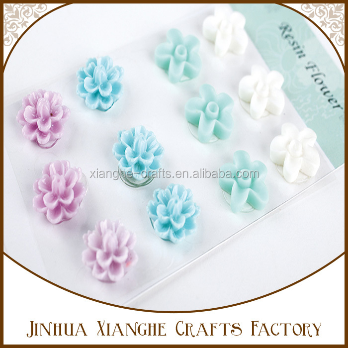Best selling resin 3D flowers flatback resin appliques DIY resin crafts decoration