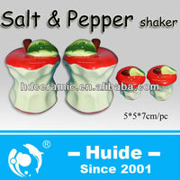 Red apple design spice shaker set ceramic