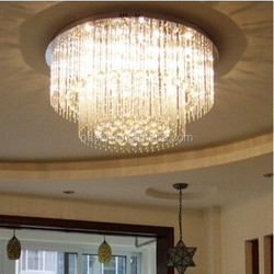 Contemporary family round fancy long crystal hanging ceiling lights