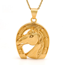Marlary Stainless Steel Horseshoe Necklace Animals Horse Head Pendant Jewelry