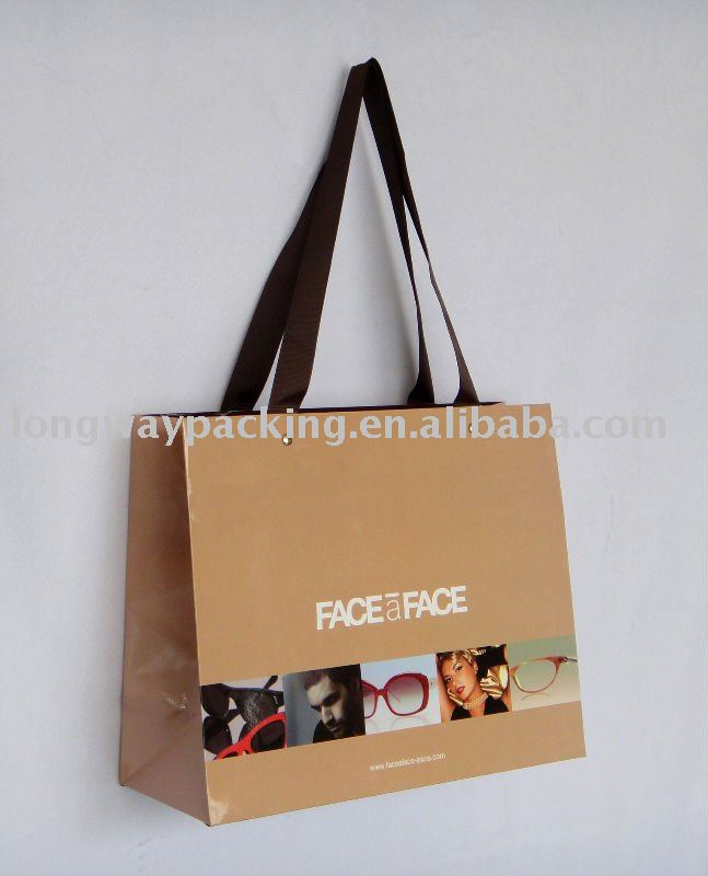 optical printed paper shopping bags with chain