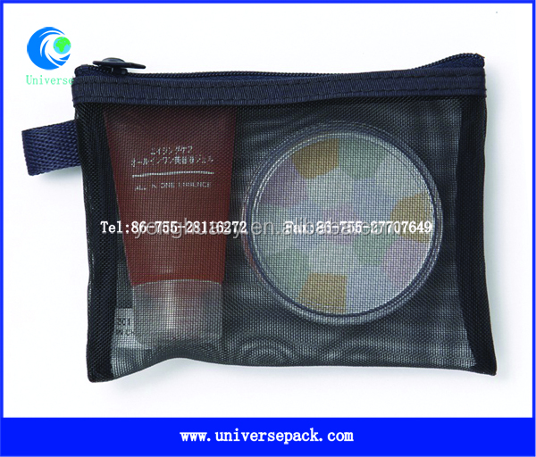 black mesh cosmetic bag wholesale with zip