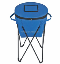New design eco friendly 600D polyester folding cooler bag with stand