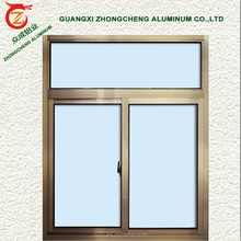Cheap price single or double glass champagne color aluminum sliding window with window screen design