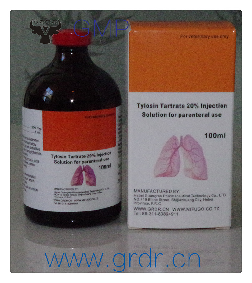 GMP Certified factory direct sale 20% Tylosin Tartrate Injection for Animals