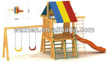 Outdoor Wooden Playground with Swing