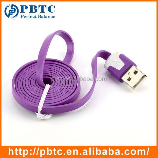 Hot Sale Noodle Flat Fast Multi Mobile Phone Micro Usb Charging Cable