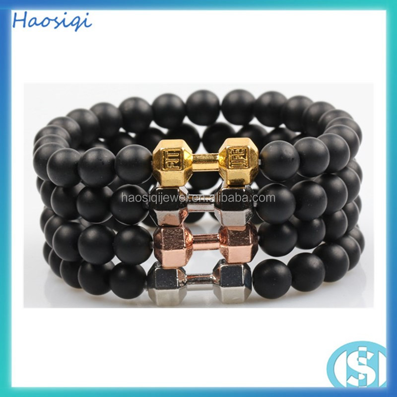 New design high quality 8mm natural gemstone black onyx bead elastic barbell bracelets for men