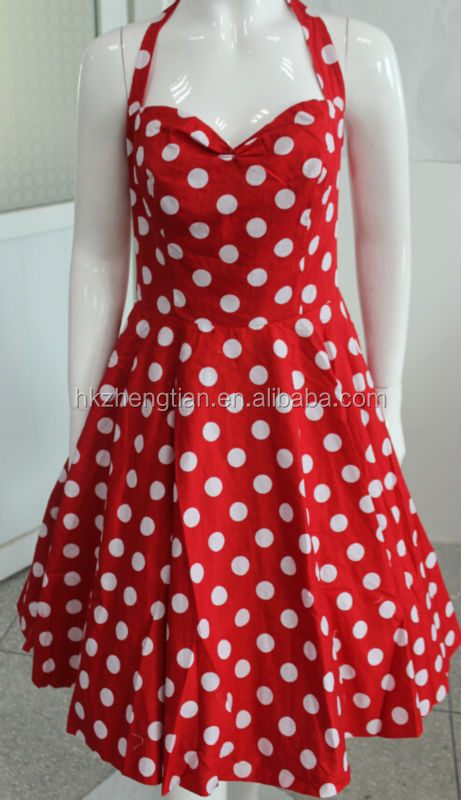 Vintage red & White Polka Dot Spot Print 1950's Rockabilly Swing Prom Cocktail Dress UK 8-24