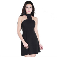 Casual dress T-neck solid black stand collar mini backless A-line fashion girls summer dress cut and sew apparel