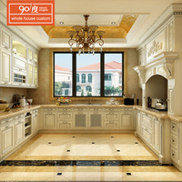 Customized wholesale simple design mordern european country style tall modular white paint color high end wood kitchen cabinet