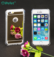 Factory Price Luxury Shockproof Clear Bumper Mirror Back Phone Case For iphone 6