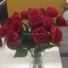 Bulk artificial fake real touch single stem red roses artificial latex flowers
