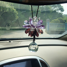 Charming Crystal Flower Car Hanging Ornament Vehicle Interior Decoration Rearview Mirror Mount Pendant Decor