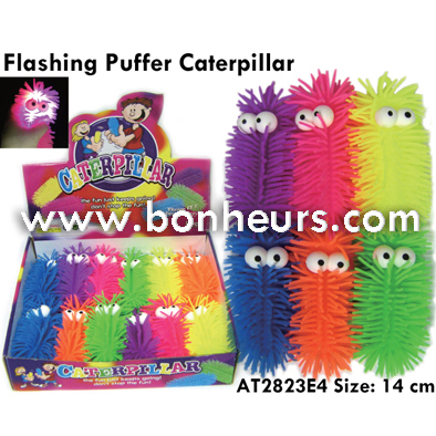 New Novelty Toy Light Up Colorful Flashing Puffer Caterpillar