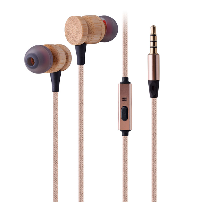 manufacturer custom logo new design Hifi headphone wooden earbuds with microphone 3.5mm stereo bass wood bamboo earphone