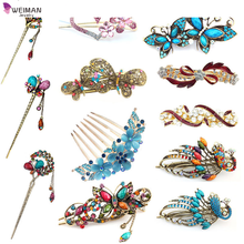 Retro Hair Clips Crystal Butterfly Flower Combs Hair Sticks