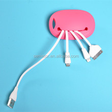 Soft silicone Crab shaped for iphone 5 usb multi charger cable 4 in 1