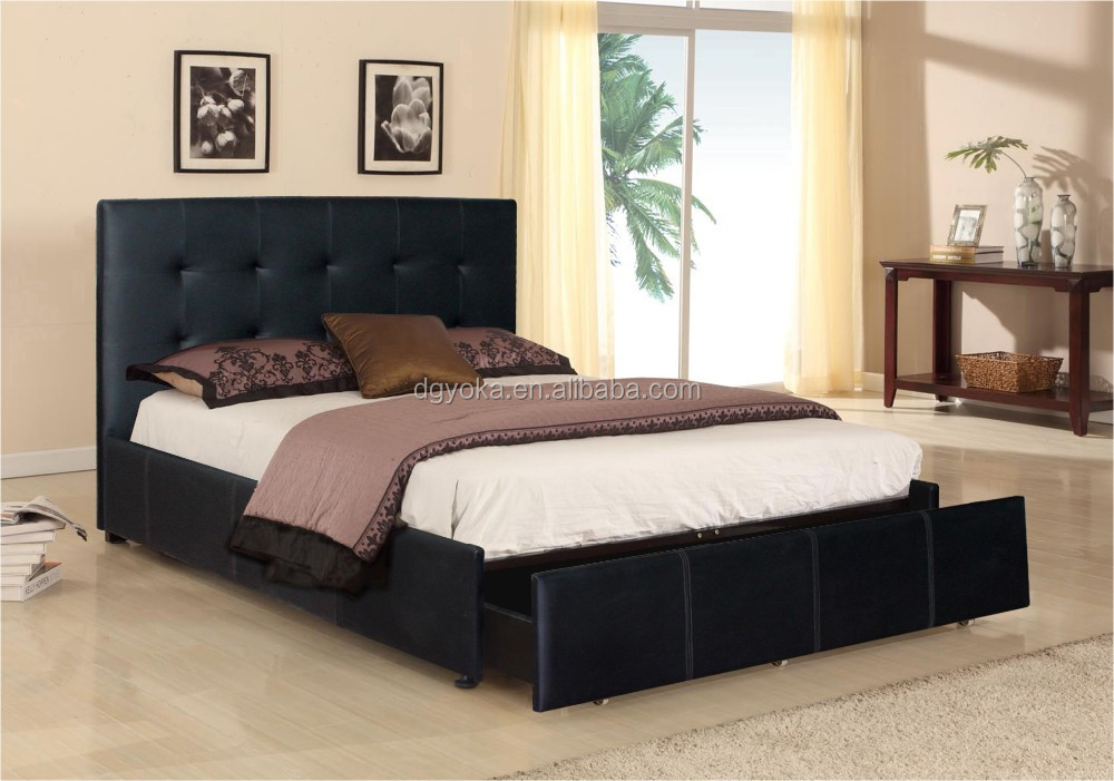533 cheap price upholstery artificial pu faux leather bed upholstered linen fabric bedstead with drawer and wooden slats