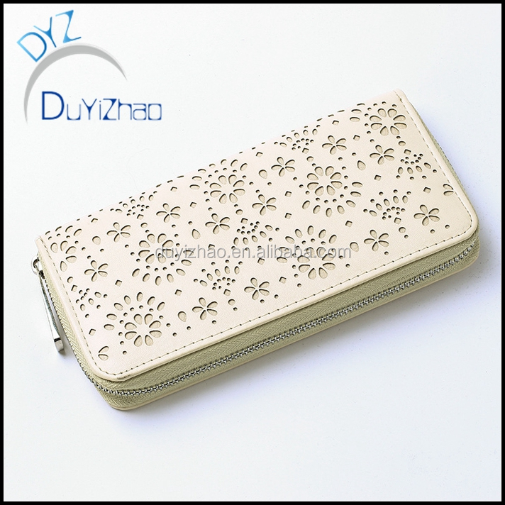 China factory wholesale custom pu Leather flower purse,custom women's cheap flower wallet
