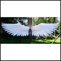 Free shipment 8m length giant inflatable white angel wing costume for event