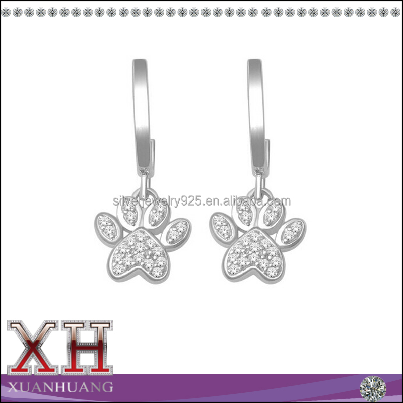 18K White Gold Plated White Cubic Zircon Diamond Dog Paw Drop Earrings With 925