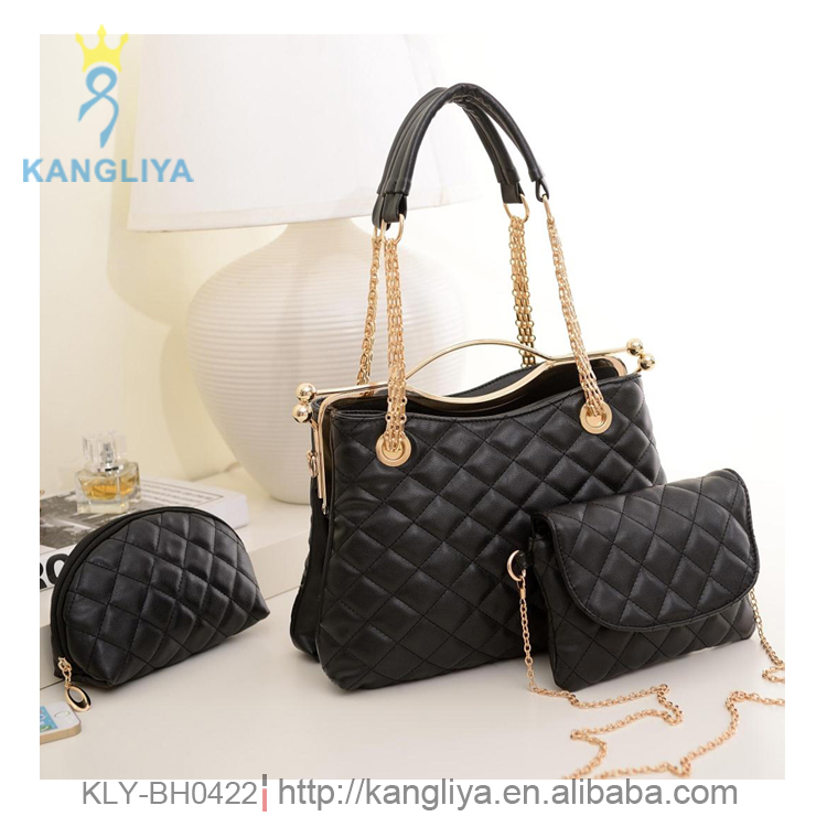 Graceful ladies handbag with chain mix pu shoulder handle bag three in one women bags