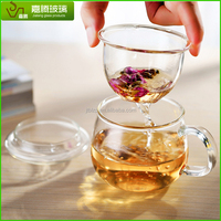 Eco friendly three part glass cup inside glass infuser top glass lid handled tea cup