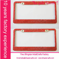 Red rhinestone auto license plate frame