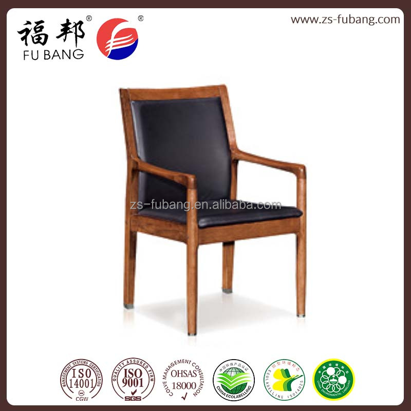 Chinese factory direct offer top genuine leather Executive Office wooden parson chair