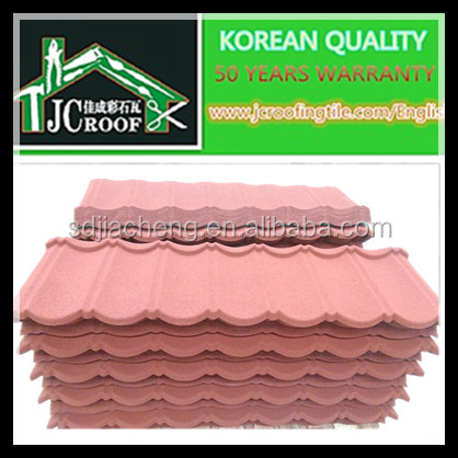 Different types of high strength anti corrosion insulation long life span stone coated steel roofing tile