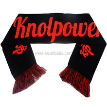 Custom Tassel Sports Game Jacquard Knit Red Black Shawls Scarf with Logo