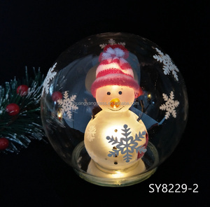 Christmas gifts ornament 120mm led light glass ball with snowman inside