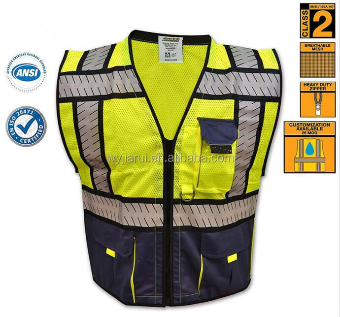 Fishbone Tape Design Safety Vest | High Visibility Heavy Duty Reflective Vest with Contrast Blue Mesh | iPocket & Multiple Pocke