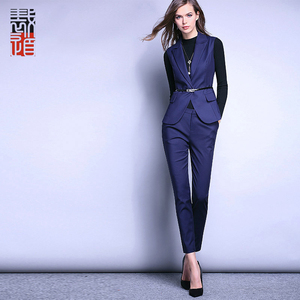 Fashion Style Fitted suit Royal Blue Sleeveless Pant Suit For Ladies