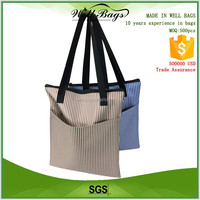 custom vertical striped pattern 600D Polyester Oxford cloth zipper tote shopping shoulder bag with outside pocket