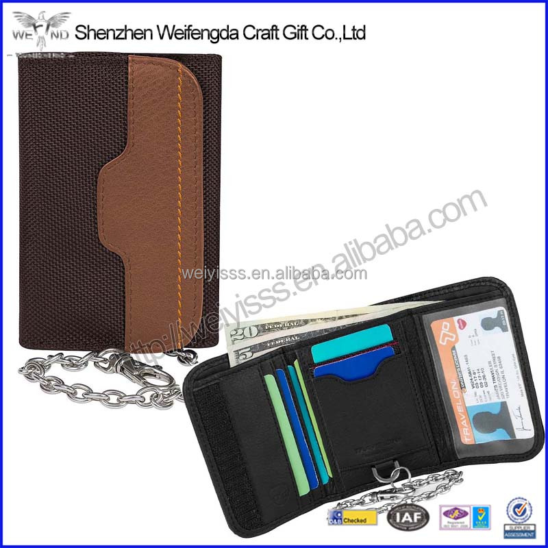 Travel safety leather wallet chain id card holder with RFID blocking