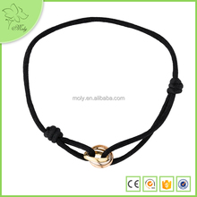 Promotion Simple Design Cheap Handmade Black Nylon String Bracelet for Young Girl